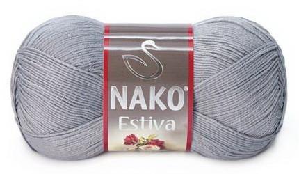 Poze Fir de tricotat sau crosetat - Fire amestec Bumbac + Bambus NAKO ESTIVA GRI 10880