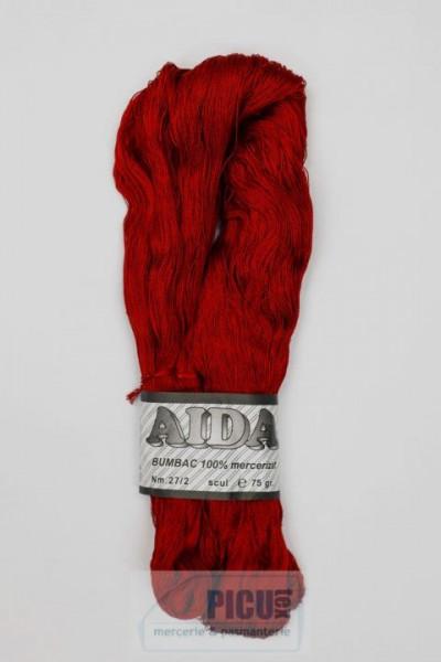 Poze Fir de tricotat sau crosetat - Fire Bumbac 100% mercerizat AIDA ROMANOFIR SCUL ROSU 1233