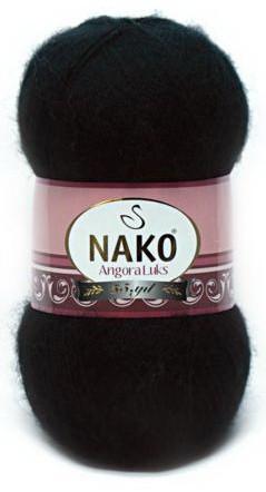 Poze Fir de tricotat sau crosetat - Fire tip mohair acril NAKO ANGORA LUKS NEGRU 217