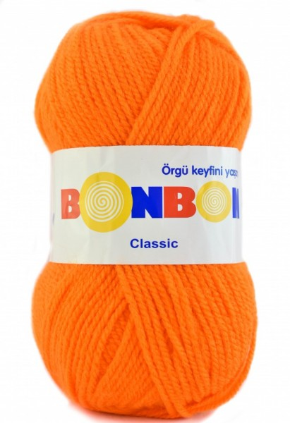 Poze Fir de tricotat sau crosetat - Fire tip mohair din acril BONBON CLASIC PORTOCALIU 98215