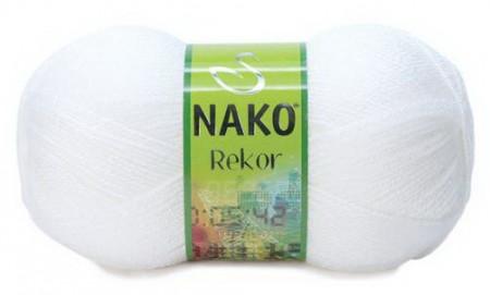 Poze Fir de tricotat sau crosetat - Fire tip mohair din acril premium Nako REKOR  ALB 208