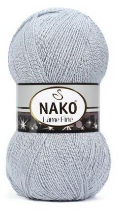 Poze Fir de tricotat sau crosetat - Fire tip mohair din acril si poliester metalic NAKO LAME FINE GRI 6671