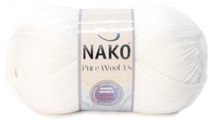 Poze Fir de tricotat sau crosetat - Fire tip mohair din lana 100% Nako PURE WOOL 3,5 ALB 208