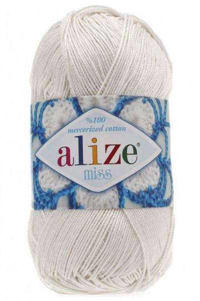 Poze Fir de tricotat sau crosetat - Fir BUMBAC 100% ALIZE MISS ALB 450