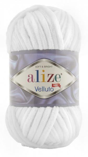 Poze Fir de tricotat sau crosetat - Fire tip mohair din acril ALIZE VELLUTO ALB 55