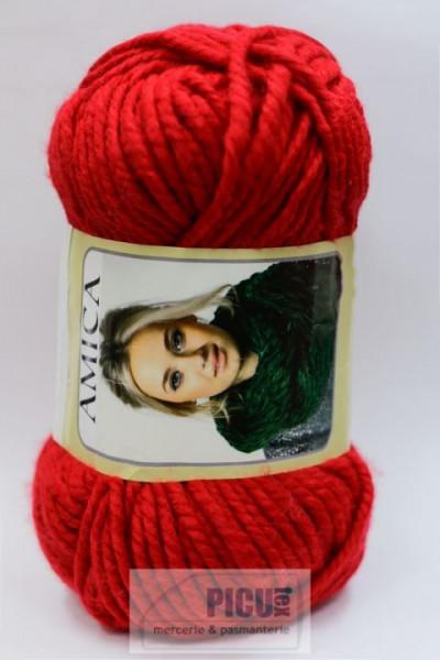 Poze Fir de tricotat sau crosetat - Fire tip mohair din acril AMICA ROSU - 309
