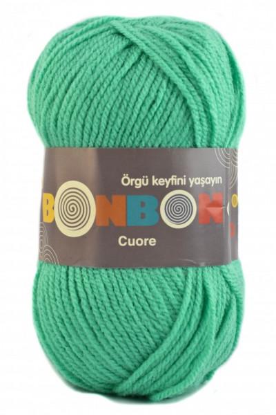 Poze Fir de tricotat sau crosetat - Fire tip mohair din acril BONBON CUORE - VERDE - 98643