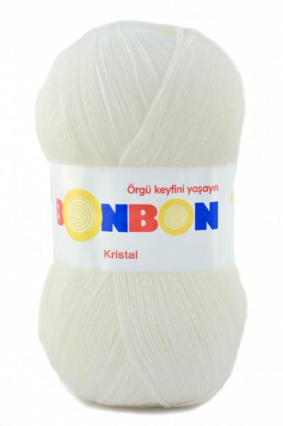 Poze Fir de tricotat sau crosetat - Fire tip mohair din acril BONBON KRISTAL alb 98200