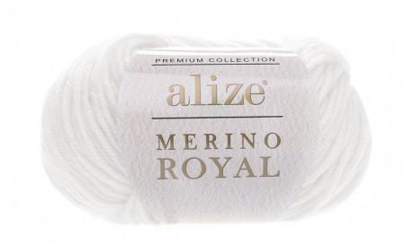 Poze Fir de tricotat sau crosetat - Fire tip mohair din lana 100%, ALIZE MERINO ROYAL ALB 55