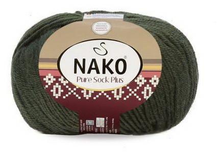 Poze Fir de tricotat sau crosetat - Fire tip mohair din lana si polyamida Nako PURE SOCK PLUS VERDE 10267