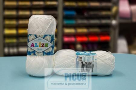 Poze Fir de tricotat sau crosetat - Fir BUMBAC 100% ALIZE MISS ALB 55