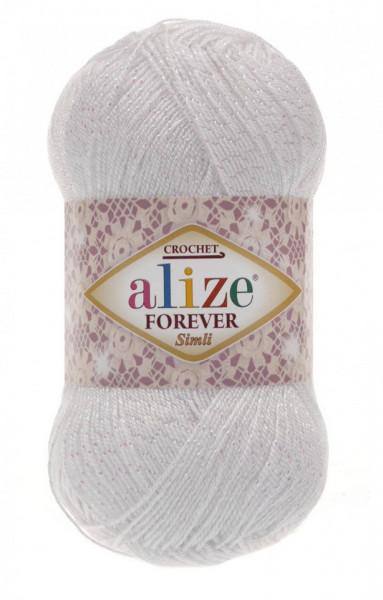 Poze Fir de tricotat sau crosetat - Fir microfibra ALIZE FOREVER SIMLI ALB 55