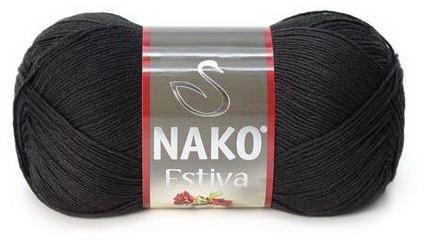 Poze Fir de tricotat sau crosetat - Fire amestec Bumbac + Bambus NAKO ESTIVA NEGRU 217