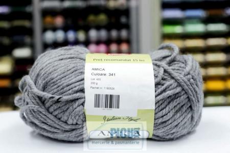 Poze Fir de tricotat sau crosetat - Fire tip mohair din acril AMICA GRI - 341