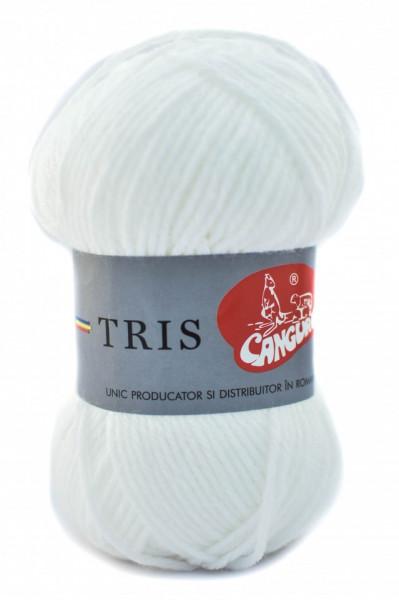 Poze Fir de tricotat sau crosetat - Fire tip mohair din acril CANGURO - TRIS ALB 301