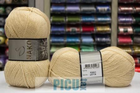 Poze Fir de tricotat sau crosetat - Fire tip mohair din acril si poliester metalic NAKO LAME FINE CREM 4671A