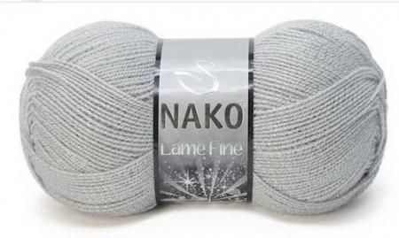 Poze Fir de tricotat sau crosetat - Fire tip mohair din acril si poliester metalic NAKO LAME FINE GRI 130G