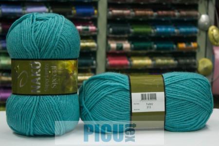 Poze Fir de tricotat sau crosetat - Fire tip mohair din lana 50% si acril 50% Nako Superlambs Special TURCOAZ 313