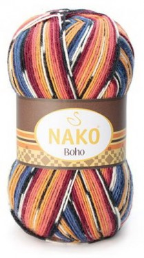Poze Fir de tricotat sau crosetat - Fire tip mohair din lana si polyamida Nako BOHO mix 81256