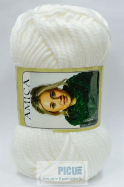 Poze Fir de tricotat sau crosetat - Fire tip mohair din acril AMICA ALB - 302