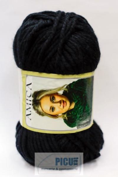 Poze Fir de tricotat sau crosetat - Fire tip mohair din acril AMICA NEGRU - 340