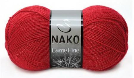 Poze Fir de tricotat sau crosetat - Fire tip mohair din acril si poliester metalic NAKO LAME FINE ROSU 251K