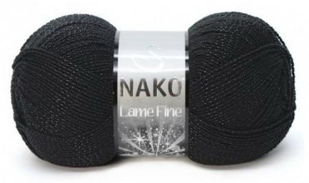 Poze Fir de tricotat sau crosetat - Fire tip mohair din acril si poliester metalic NAKO LAME FINE NEGRU 217S