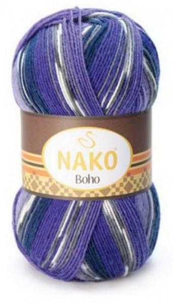 Poze Fir de tricotat sau crosetat - Fire tip mohair din lana si polyamida Nako BOHO mix 81259