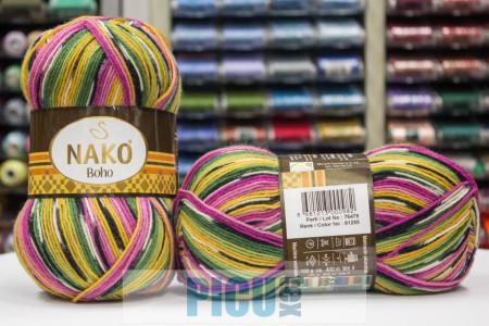 Poze Fir de tricotat sau crosetat - Fire tip mohair din lana si polyamida Nako BOHO mix 81255