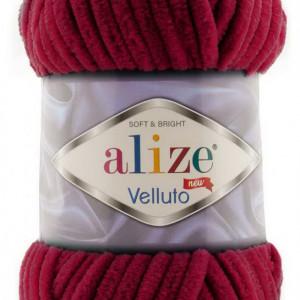 Fir de tricotat sau crosetat - Fire tip mohair din acril ALIZE VELLUTO ROSU 107