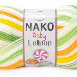 Fir de tricotat sau crosetat - Fire tip mohair din acril degrade Nako Lolipop verde 80437