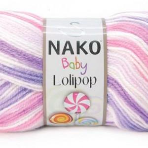 Fir de tricotat sau crosetat - Fire tip mohair din acril degrade Nako Lolipop mix 80434
