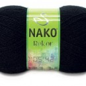 Fir de tricotat sau crosetat - Fire tip mohair din acril premium Nako REKOR NEGRU 217