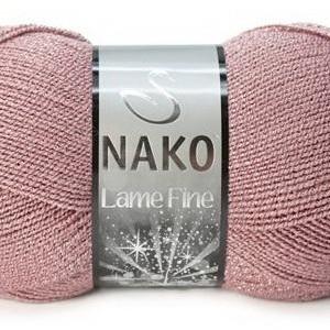 Fir de tricotat sau crosetat - Fire tip mohair din acril si poliester metalic NAKO LAME FINE ROZ 1429SE