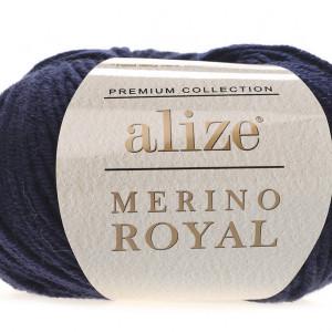 Fir de tricotat sau crosetat - Fire tip mohair din lana 100%, ALIZE MERINO ROYAL ALBASTRU 58