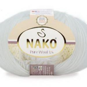 Fir de tricotat sau crosetat - Fire tip mohair din lana 100% Nako PURE WOOL 3.5 ALB 208