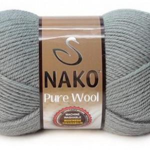 Fir de tricotat sau crosetat - Fire tip mohair din lana 100% Nako PURE WOOL GRI 11207