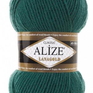 Fir de tricotat sau crosetat - Fire tip mohair din lana 49% si acril 51% Alize Lanagold Verde 507