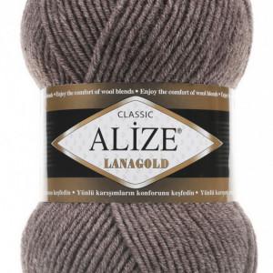 Fir de tricotat sau crosetat - Fire tip mohair din lana 49% si acril 51% Alize Lanagold Bej 240