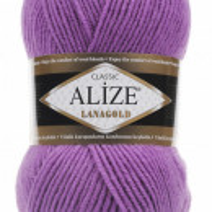 Fir de tricotat sau crosetat - Fire tip mohair din lana 49% si acril 51% Alize Lanagold Mov 260