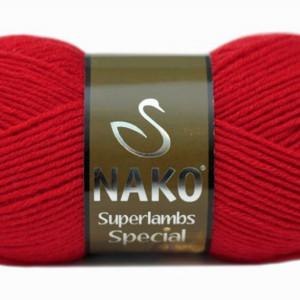 Fir de tricotat sau crosetat - Fire tip mohair din lana 50% si acril 50% Nako Superlambs Special ROSU 6454