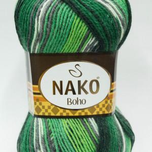 Fir de tricotat sau crosetat - Fire tip mohair din lana si polyamida Nako BOHO mix 81261