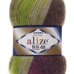 Fir de tricotat sau crosetat - Fire tip mohair din acril Alize Angora Real 40 Batik degrade 3940