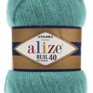 Fir de tricotat sau crosetat - Fire tip mohair din acril Alize Angora Real 40 Verde 570
