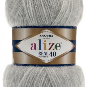 Fir de tricotat sau crosetat - Fire tip mohair din acril Alize Angora Real 40 Gri melanj 614