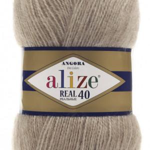 Fir de tricotat sau crosetat - Fire tip mohair din acril Alize Angora Real 40 Bej melanj 152