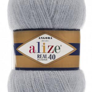 Fir de tricotat sau crosetat - Fire tip mohair din acril Alize Angora Real 40 Gri 21