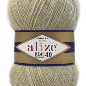 Fir de tricotat sau crosetat - Fire tip mohair din acril Alize Angora Real 40 Bej 300