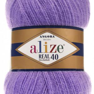 Fir de tricotat sau crosetat - Fire tip mohair din acril Alize Angora Real 40 Mov 206