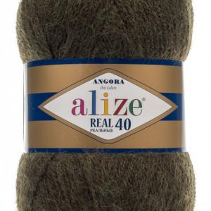 Fir de tricotat sau crosetat - Fire tip mohair din acril Alize Angora Real 40 Verde Melanj 567